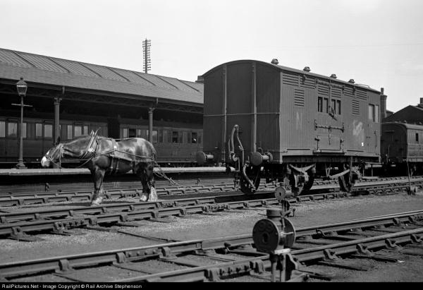 철로가 보급되던 초기에 짐차는 말이 끌었다